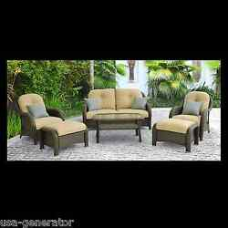 Patio Seating Set Wicker 6 Piece Outdoor Furniture Table Chairs Loveseat Ottoman
