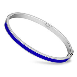 Thin Blue Line Bangle Stainless Steel with Blue Epoxy Stripe