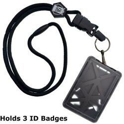 Specialist ID THREE Card Heavy Duty Plastic Badge Holder with Lanyard Top Load $8.99