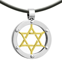 Stainless Steel Magen David Star of David Judaica Jewish Charm Pendant Necklace