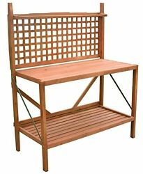 Merry Garden Foldable POTTING BENCH Two Tiers Wooden OUTDOOR GARDEN TABLE