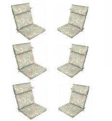 Replacement Patio Cushions Set of 6 Outdoor Blue White Thick Chair Cushion Pads