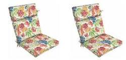 Replacement Patio Cushions Set of 2 Floral Outdoor Thick Chair Cushion Pad