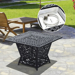 Gas Fire Pit Table Cast Aluminum Square Outdoor Fireplace Propane Patio Backyard