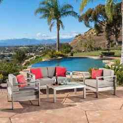 Patio Loveseat Set Metal Outdoor Furniture 4 Piece Sofa Chairs Table Deck Pool