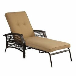 Tan Padded Chaise Lounge Outdoor Yard Garden Home Beach Patio Pool Oasis Chair