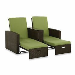 Lime Wicker Double Chaise Lounge Garden Outdoor Beach Ocean Summer P