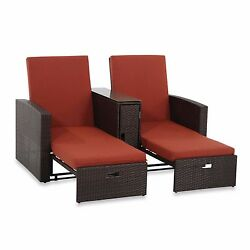 Terracotta Wicker Double Chaise Lounge Garden Outdoor Beach Summer Pool Chairs