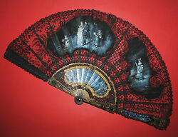 AMAZING ANTIQUE FRENCH CARVED EBONY LIMOGES ENAMEL PAINTED SILK CHANTILLY FAN