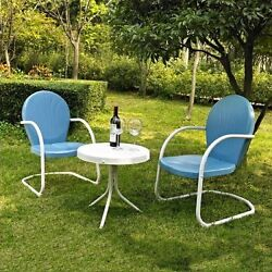 Metal Patio Table And Chairs Retro Lawn Furniture Outdoor Conversation Sets 3-Pc