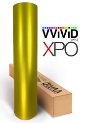 Gold Satin Chrome car vehicle vinyl wrap sheet roll film 100ft x 5ft VViViD XPO