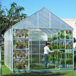 10 ft X 12 ft Greenhouse 4 Vents Walk-In Large Nursery Sliding Doors NO TAX
