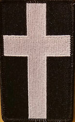 Christian Cross Emblem  Iron-On Patch Black & White Version Black Border