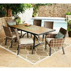 Patio Dining Set  Pc All Weather Hand Woven Wicker Sunbrella Fabric High Quality