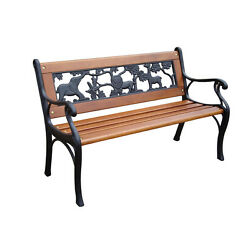 32.4-in L Iron And Wood Patio Bench Outdoor Garden Furniture Porch Deck Chair