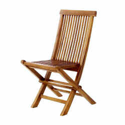 Durable Brown Portable Teak Folding Patio Dining Chair Seat Outdoor Garden Yard
