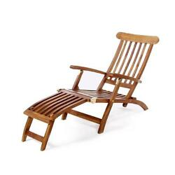 Brown Teak Folding Patio Chaise Lounge Chair  with Footrest Outdoor Garden Yard