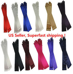 Women#x27;s Evening Party Formal Gloves 22quot; Long Black White Satin Finger Mittens $6.88