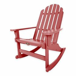 Red Durawood Outdoor Backyard Deck Porch Pool Adirondack Rocker Rocking Chair