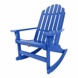 Blue Durawood Outdoor Porch Veranda Deck Pool Adirondack Rocker Rocking Chair