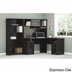 L-Desk with Hutch and 5 Shelf Bookcase Home Office Furniture Desk Work Station