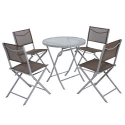 5 PCS Bistro Set Garden 4 Folding Chairs Table Outdoor Patio Furniture