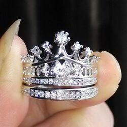 NEW! Queen Crystal Crown Pattern Ring Set Two-piece Rings Natural