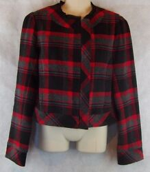 She Said Womens Size 10 RedBlack Plaid Full Zipper Lined Jacket Blazer