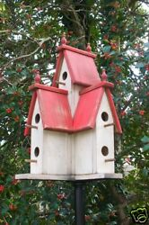 Large Wooden PRIMITIVE VICTORIAN BIRDHOUSE-RED-2016-388R