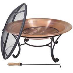"Titan 29"" LW Copper Outdoor Fire Pit Table Bowl Backyard Firepit 29 Diameter"