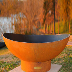 Orange Steel Wood-Burning Fire Pit Firewood Home Garden Outdoor Patio Heater