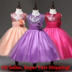 NWT Wedding Sequined Flower Girls Dress Tutu Formal Girl#x27;s Evening Dress $17.98