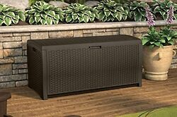 Deck Box 99-Gallon Mocha Wicker Resin storing cushions and other patio items