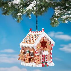 Holiday Gingerbread Birdhouse Faux Candy Snow Outdoor Christmas Bird Decor New