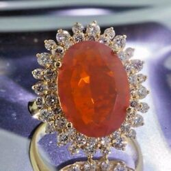 Woman's 14K Yellow Gold Fire Opal and Diamond Ring-PGS Graded