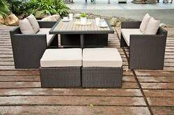 Supernova 7 Pcs Outdoor Patio Wicker Dining Set Poly Wood Dining Table Furniture