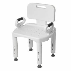 White Shower Chair Adjustable Height Bath Bench Secure Hand Grips Back Support