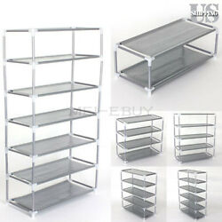Metal Shoes Rack Stand Storage Organizer Fabric Shelf Holder Stackable Closet US $16.99