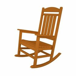 Tangerine Plastic Patio Rocking Chair Contemporary Home Living Garden Furniture