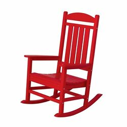 Sunset Red Plastic Patio Rocking Chair Contemporary Home Living Garden Furniture