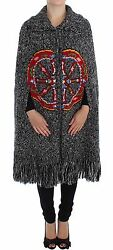 NWT $2900 DOLCE & GABBANA Gray Knitted Cashmere Wool Cardigan Cape Sweater s. S