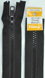 Vizzy Chunky Open End Zip 65cm Colour 02 BLACK A Quality Brand Name Zipper