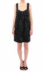 NWT $12600 DOLCE & GABBANA Black Floral Crystal Brocade Shift Dress IT40 US6 S