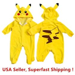 Pokemon Go Toddlers Infant Baby Boy Girls Coat Pikachu Outfit Jumpsuit Romper $13.98