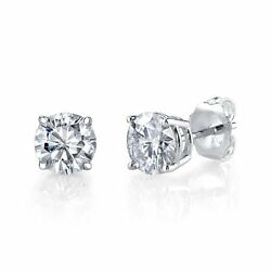 12ct 14K White Gold Round Natural ( Real) Diamond Stud Earrings