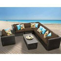 Miseno VENICE-08b-COCOA 8-Piece Outdoor Furniture Set and Club Chairs