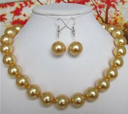 10MM AAA golden South Sea shell pearl necklace earrings 18