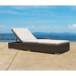 Supernova Brown Wicker Chaise Lounge Chair Outdoor Patio Yard Beach Folding Bed