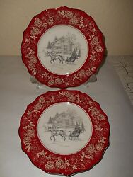 222 FIFTH 4 Salad Plates Andover Christmas Red Rim Pine Cone Sleigh Cabin Snow