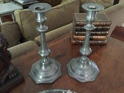 Large Pair 18Th Century Pewter Candle Sticks Baluster Octagonal Base Queen Anne